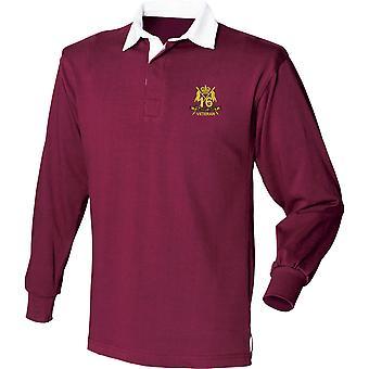 16nde femte The Queens Royal Lancers veteran-lisensiert britiske hæren brodert langermet rugby skjorte