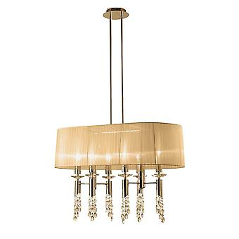 Mantra M3853FG Tiffany Pendante 6-6 Light E27-G9 Oval, Français Gold With Soft Bronze Shade - Clear Crystal