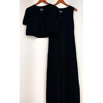 Denim et Co. Robe sans manches Crochet Trim Maxi W/ Shrug Blue A230913