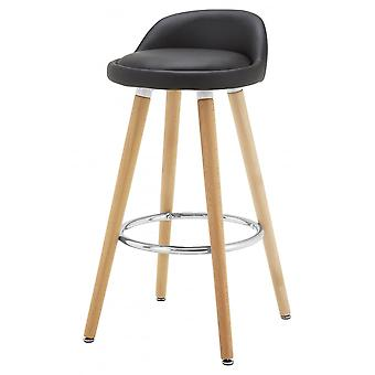 Fusion Living Contemporary Black Faux Leather Bar Stool With Beech Legs