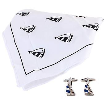 David Van Hagen Yacht Handkerchief and Cufflink Set - White/Black