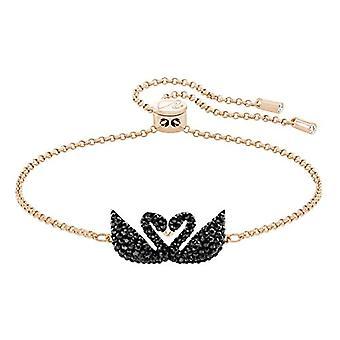 Bracelet rigide de cygne iconique de Swarovski - Noir - plaque d'or de rose