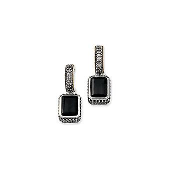 925 Sterling Silver Post Earrings finish With 14k 10.00Black Simulated Onyx Earrings Jewelry Gifts for Women