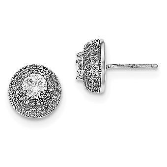 925 Sterling Argent CZ Cubic Zirconia Simulated Diamond Round Post Boucles d'oreilles Bijoux Bijoux pour les femmes