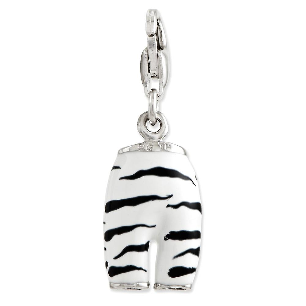 925 Sterling Silver Rhodium plated Fancy Lobster Closure Click on CZ Cubic Zirconia Simulated Diamond Enamel Zebra Pants