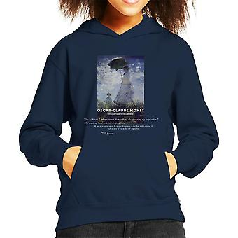 A.P.O.H Oscar Claude Monet Nature Quote Kid's Hooded Sweatshirt