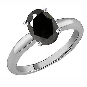 Dazzlingrock Collection 18K 9x7 MM Oval Cut Black Sapphire Ladies Solitaire Bridal Engagement Ring, Or blanc