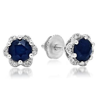 Dazzlingrock Collection 14K 6 MM Round Blue Sapphire & White Diamond Ladies Flower Shape Cluster Stud Earrings, White Gold