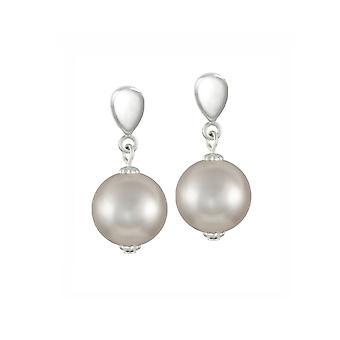 Eternal Collection La Perla Silver Shell Pearl Silver Tone Drop Screw Back Clip On Earrings