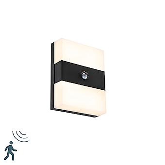 QAZQA Exterior wall light black IP44 incl. LED with motion detector - Dualy