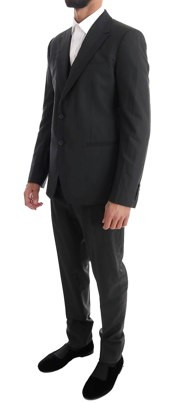 Gray Wool Slim Fit Two Button 3 Piece Suit