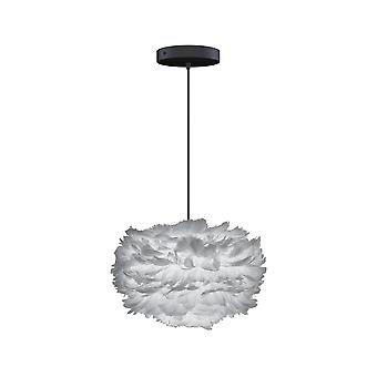 Umage Eos Feather Pendant Shade - Light Grey - Mini - 35cm With Black Rosette Cord Set