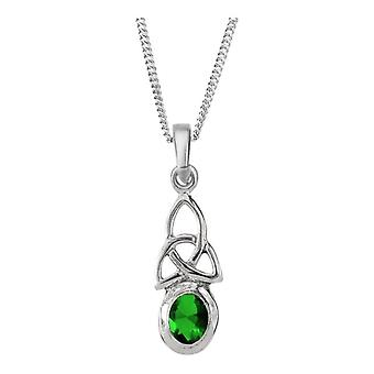 "Celtic Holy Trinity Knot Birthstone Necklace Pendant August - Peridot Stone - Includes 18"" Chain"