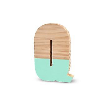 La Lluna0209000-Q Semilacquered Pine Letter Q Green
