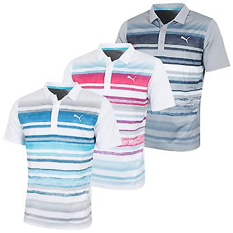 Puma Golf Mens Washed Stripe PC Polo Shirt DryCell UV-Resistant