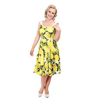 Collectif Vintage Women's Maddison Flared Lemon Print 1950's Dress