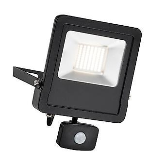 Saxby Lighting Surge Pir Integrated LED PIR Outdoor Wall Flood Light Matt Black, Glass IP44 78969