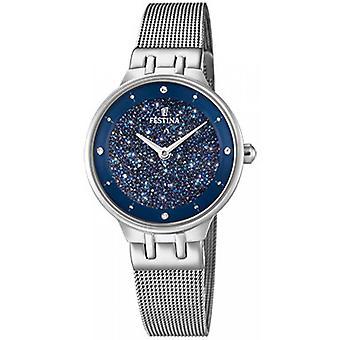 Festina klocka Miss F20385-2 - visar stål SWAROVSKI blå MILANESE kvinna armband