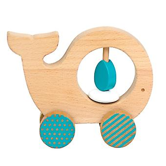Petit Collage Wooden Push Animal Whale