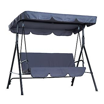 Outsunny 3 Seater Canopy Swing Chair Garden Rocking Bench Heavy Duty Patio Metal Seat w/ Top Roof - Grey