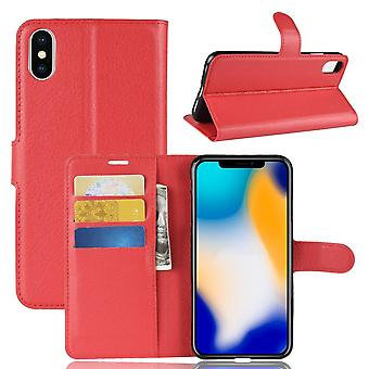 Para iPhone XS MAX Cover,Folio Lychee Flip Leather Wallet Mobile Phone Case, Vermelho