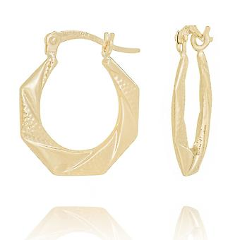 10k oro amarillo octágono en forma de espalda a espalda texturizado alto polaco pendientes regalos de joyería para las mujeres