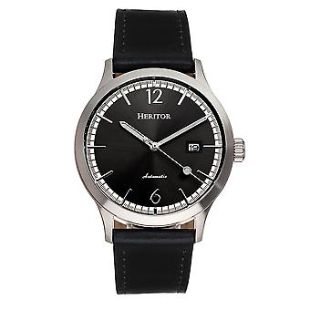 Heritor Automatic Becker Leather-Band Watch w/Date - Argent/Noir