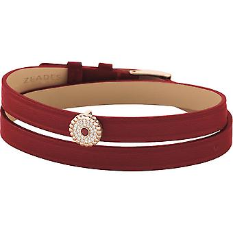 Zeades Sbc01056 - red crystals woman leather strap bracelet