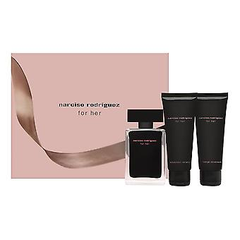 Narciso Rodriguez voor haar 3 delige set bevat: 1,6 oz Eau de Toilette Spray + 2,5 oz Body lotion + 2,5 oz douchegel