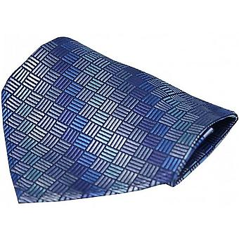 David Van Hagen Box Pattern Luxury Silk Handkerchief - Blue