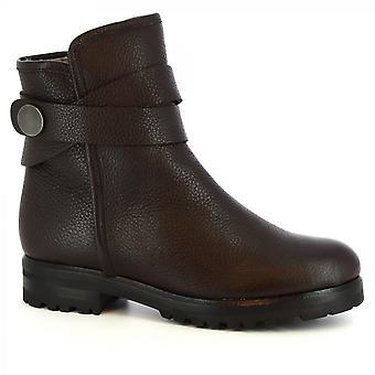 Leonardo Schuhe Frauen's handgemachte Stiefeletten in dunkelbraunen Kalb Leder Seite Reißverschluss