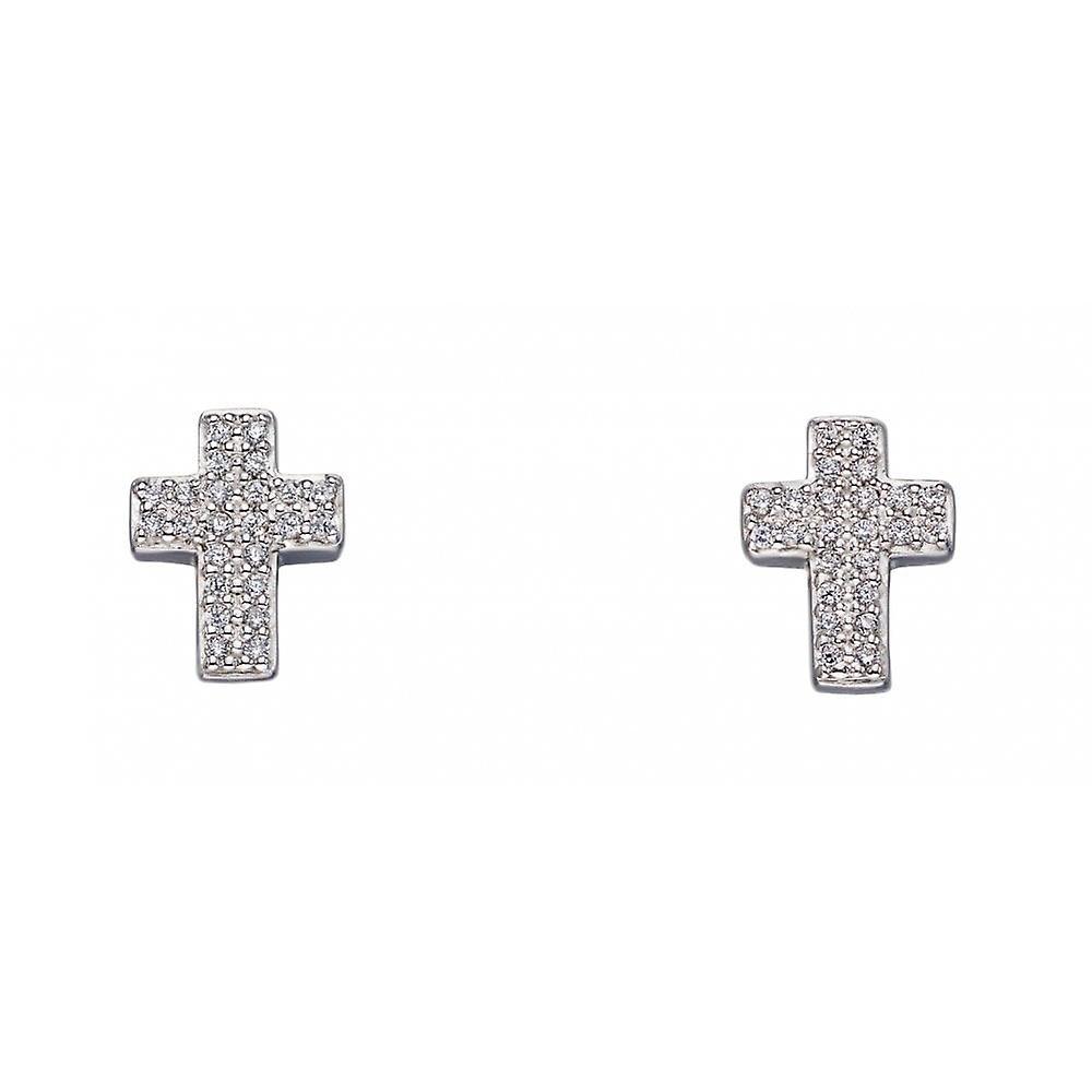 Fiorelli Silver & Clear Cz Cross Stud Earrings