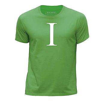 STUFF4 Boy's Round Neck T-Shirt/Alphabet Letter Initial I/Green