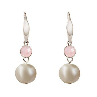 Orecchini GEMSHINE perle coltivate e quarzo rosa in argento, oro placcato o rosa.