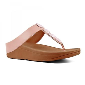 FitFlop Roka™ Ladies Leather Toe Post Sandals Dusky Pink