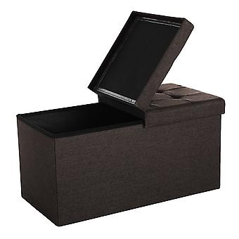 Linen hocker with storage space - brown or grey