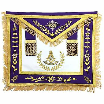 Masonic blauwe lodge verleden meester gouden machine borduurwerk paarse schort