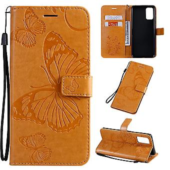For Samsung Galaxy S20 Ultra Case, Pressed Butterflies Pattern PU Leather Wallet Cover with Stand & Lanyard, Yellow