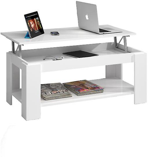 Bricohabitat Glossy White Adjustable Coffee Table With Built-In Mag...