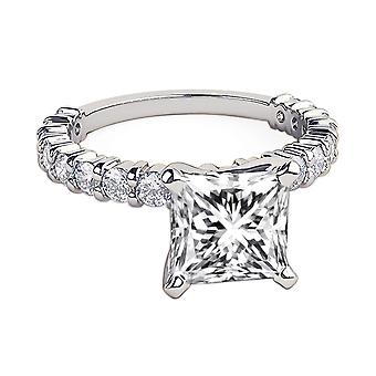 14K White Gold 2.60 CTW 6.50MM Moissanite Forever One Engagement Ring with Diamonds 4 Prongs