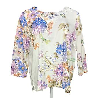Alfred Dunner Women's Top Embellished Printed 3/4 Sleeve Purple