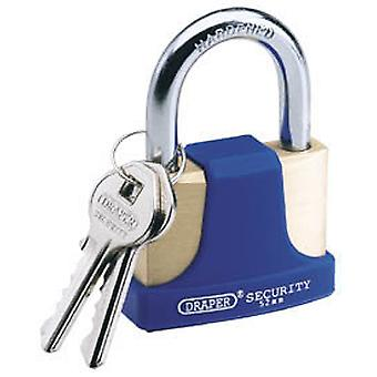 Draper 64165 42mm Solid Brass Padlock & 2 Keys Hardened Steel Shackle & Bumper