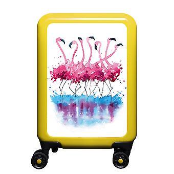 myTrolley Flamingo Aquarel S, 4 rollen, 55 cm, 32 L, Geel