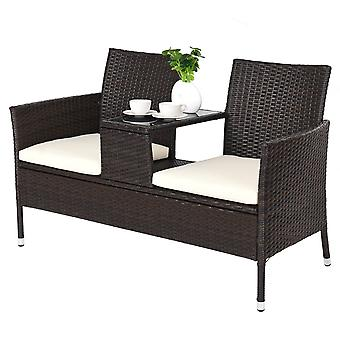 Garden Rattan Chair Double Seater Cushion Middle Tea Table Set Outdoor