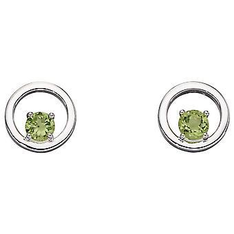 Elementer Sølv Runde Peridot Øredobber - Sølv/Grønn