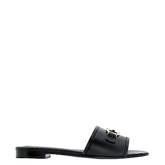 Salvatore Ferragamo 0730192 Dames's Black Leather Sandals