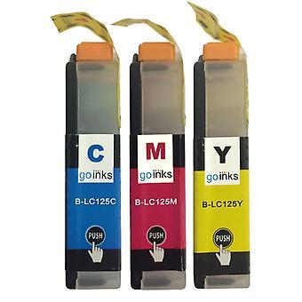 1 Set di cartucce C/M/Y per sostituire Brother LC125XL Compatibile/non OEM da Go Inks (3 inchiostri)