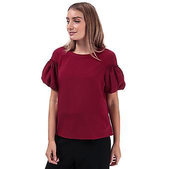 Women's Français Connection Crepe Light Puff Sleeve Top en rouge