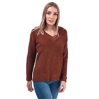 Women's Brave Soul Chunky V-Neck Jumper in Brown