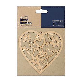 Papermania Bare Basics Wooden Shapes - Corazón